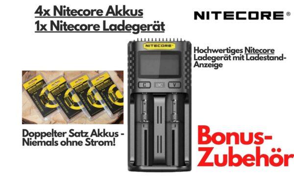 Akkus und Ladegerät von Nitecore