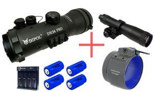 Dipol DN34 Pro Gen. 2+ inkl. IR-Strahler, Adapter, 4 Akkus & Ladegerät