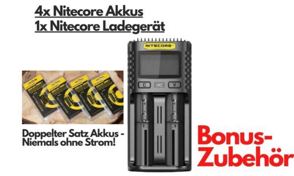 Bonus Akku und Ladegerät (Nitecore)